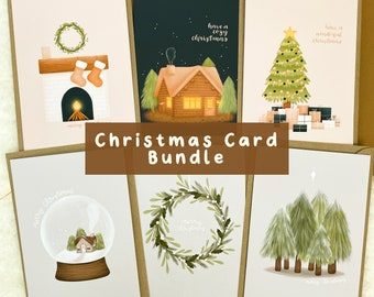 Christmas Card Bundle | Blank Inside, Illustrated Christmas Cards, Greetings Cards, Seasons Greetings