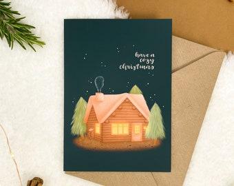 Cozy Cabin Christmas Card | Blank Inside, Illustrated Christmas Card, Greetings Card, Seasons Greetings