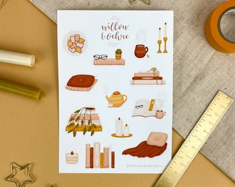 Cozy Reading Sticker Sheet | Illustration, Journaling Stickers