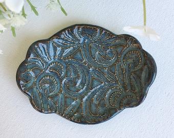 Deep Blue Trinket Dish | Ceramic Trinket Tray | Stoneware Ring Dish | Ring Holder Dish | Jewelry Tray | Pottery Trinket Dish | Ring Tray