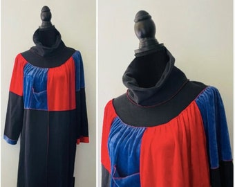 "Vintage 70s 80s Velour Velvet Cotton House Dress Robe Leisure Gown Maternity Dress Mumu, Made in Canada, bust 48"""