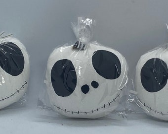 Handmade Jack Skellington fabric ornaments. Set of 3