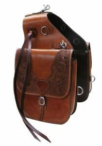 handmade Basket Weave Tooled Western Horse Leather Saddle Bag Heavy duty Traditional Trail Ride.
