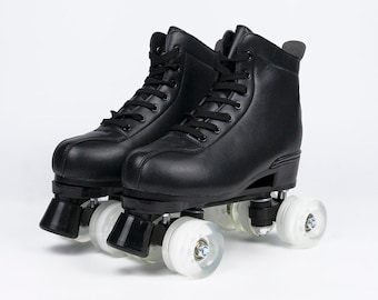 Unisex Retro Four Wheel Adult Roller Skates for Indoor and Outdoor Black