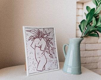 Queer Trans Pride Rapunzel Ivy Lino Block Print