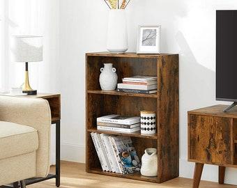 """Bookshelf, Open Bookcase with Adjustable Storage Shelves, Floor Standing Unit, 23.6"""", Rustic Brown"""