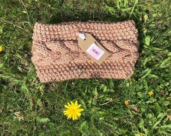 Autumn colours, Handknitted cable headband for Ladies, Dogwalker or Camping, Available in Regular or Petite sizes