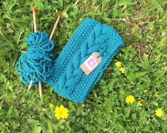 Green Handknitted cable headband for Ladies, Dogwalker or Camping, Available in Regular or Petite sizes