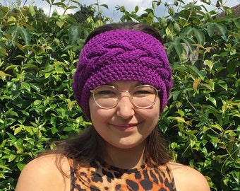 Purple Handknitted cable headband for Ladies, Dogwalker or Camping, Available in Regular or Petite sizes