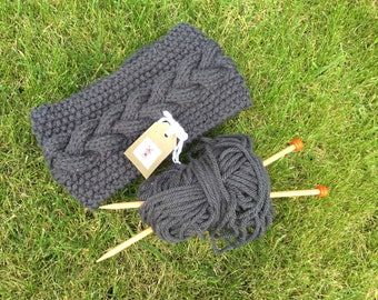 Grey Handknitted cable headband for Ladies, Dogwalker or Camping, Available in Regular or Petite sizes
