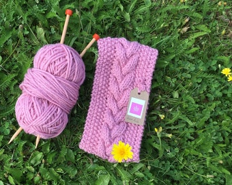 Pink Handknitted cable headband for Ladies, Dogwalker or Camping, Available in Regular or Petite sizes