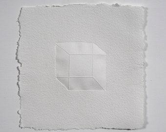 Cube letterpress print on handmade paper