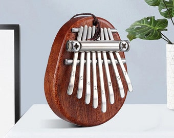 8 Key Mini Kalimba Dark Brown Color, Exquisite Finger Thumb Piano, Marimba Musical Good Accessory Pendant Gift, Mini Gift, Mbira