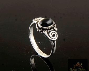 Black Obsidian Ring, 925 Sterling Silver ring, Women Gift ring, Gemstone ring, handmade ring, silver ring, valentine gift item