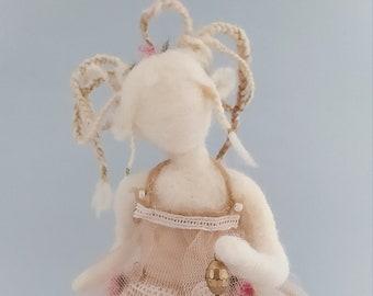 Beautiful white felt fairy with rose dress, felt fairy with needle, Waldorf inspiration fairy, walking fairy sculpture.