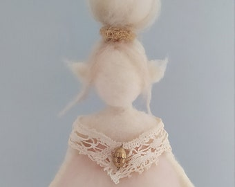 Fairy in white and pink merino wool felt, Waldorf inspiration fairy, decorative elf with vintage textile details, fairy with bun