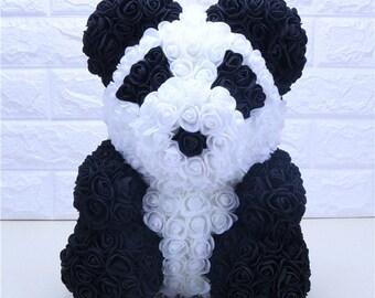 23 cm black white panda bear made of roses with heart shape/Valentine's Day gift/foam rose bear/gift for you/Mother's Day gift rose bear
