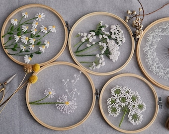 DIY Embroidery For Beginners / European Mesh Embroidery / Flowers Painting / Plants Flowers Pattern