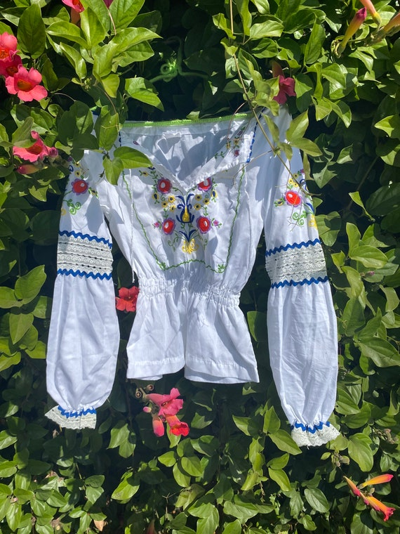 Hand embroidered vintage Hungarian blouse - image 1