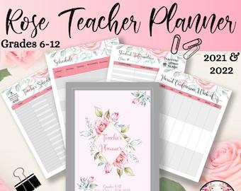 Teacher Planner, Rose Printable, School Planner, Assignment Planner, Teacher Daily Planner, Homework Planner, Rose Clipart, PDF Printable