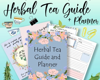 Herbal Tea, Herbal Remedies, Printable Planner, Tea Journal, Recipe Cards, Tea Blends, Herbal Tea Recipes, Weekly Planner, Journal Printable