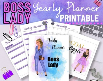 Business Planner, boss lady, Year Planner, Monthly Calendar, Weekly Planner, Expense Tracker, Buyer Persona, Goal Tracker, pdf printable