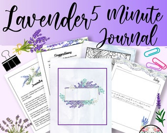 5 Minute Journal, Affirmations, Guided Journal, Reflection Journal, Lavender clipart, Lavender Printable, Daily Journal, Floral Printable