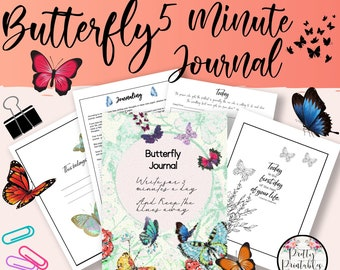 5 Minute Journal, Affirmations, Guided Journal, Reflection Journal, Butterfly clipart, Butterfly Printable, Daily Journal, Floral Printable