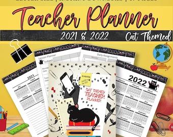 Teacher Planner Printable, School Planner, Assignment Planner, Teacher Daily Planner, Homework Planner, Cat Clipart, Teacher Weekly Planner