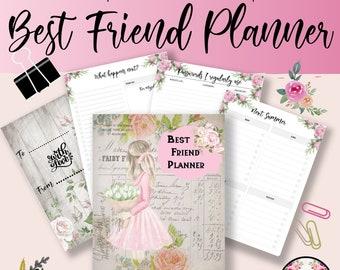 Friendship Printable, Yearly Planner, Girl Planner, Best Friend Present, Week Planner, Rose Printable, Schedule Planner, PDF Printable