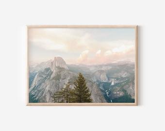 Half Dome Print, Yosemite National Park, Wall art, Instant Download, Mountain, California Landscape, Pastel Wall Art, Nature Print