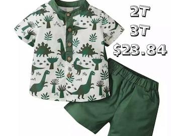 SALE 15% OFF Toddler Boy 2Pcs Summer Outfits Short Sleeve dinosaur Print Button Top Shirt + Elastic Waist Shorts Set