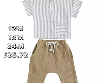 SALE 15% OFF Baby Boys Clothes Set Baby Cotton and linen Stripe Tops and Casual Shorts