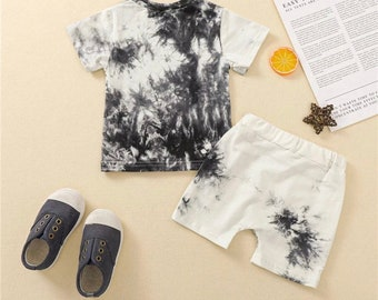 SALE 15% OFF Tracksuit Sets Tie-dye Printed Short Sleeve Tops Shorts Casual Outfits