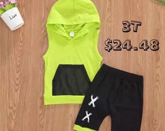 SALE 15% OFF Baby Boys Outfits Sleeveless Hoodie Top + Bandage Short Pants 2Pcs Set Sports Sunsuit