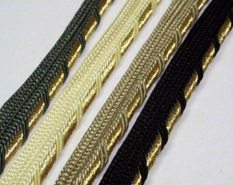 4mm Gold Metallic Insert Flanged Piping Cord Dress Costume Cusion