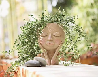 Girl Face Head in Resin for Plants/ nordic flower pot/ nordic flower vase/ face flower pot