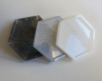 Black, White, Silver/Gray, Hexagon Resin Coasters, 11cm, Home decor, Kitchen Decor, Minimalistic, Simple, Gift