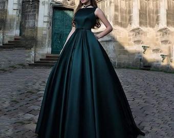 Satin Formal Evening Dress  Elegant Simple Corset  Prom With Belt Celebrity