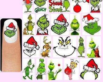60x THE GRINCH Nail Art Decals + Free Gems Christmas Xmas Cindy Lou Max Dog