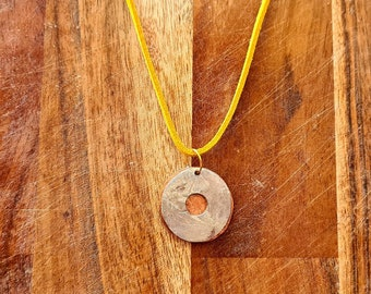 Hammered coin necklace, handmade
