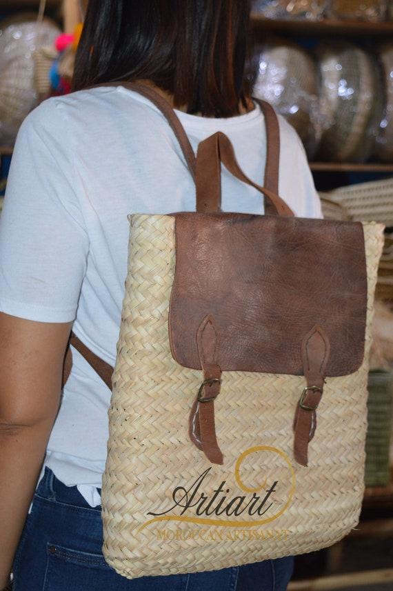 Straw Beach Handbag Backpack   Shoulder Handbag Summer Beach Woven Handmade   Tote Purse Hobo Bag Rucksack Daypack