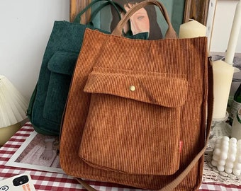 Huffmanx Corduroy Shoulder Bag Women Vintage Shopping Bags Handbags Casual Tote