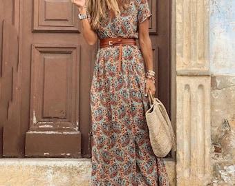 Women's Boho Long Maxi Dress (With Belt)