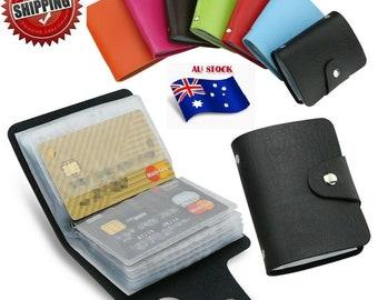 Men's Slim ID Credit Card Holder Pocket Case Purse Wallet For Cards PU Leather