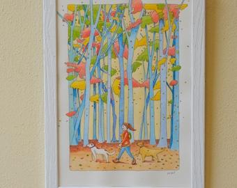 Walk, original watercolor 21x29.7 framed