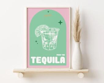Tequila Print, Cocktail Drink A2, A3, A4, Colourful Art, Bar Prints, Wall Art