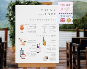 PRINTED Drunk In Love Sign, Personalised Signature Cocktail Bar Sign, The Drinks Are On Us, Wedding Cocktails, Welcome Sign, Table Plan