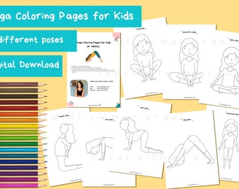 Yoga Coloring Page Etsy
