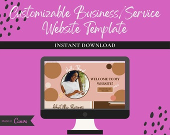 Business/Service Customizable Canva Website Template, Landing Page Template, Sales Page Template, Canva Editable Template, Girl boss Website